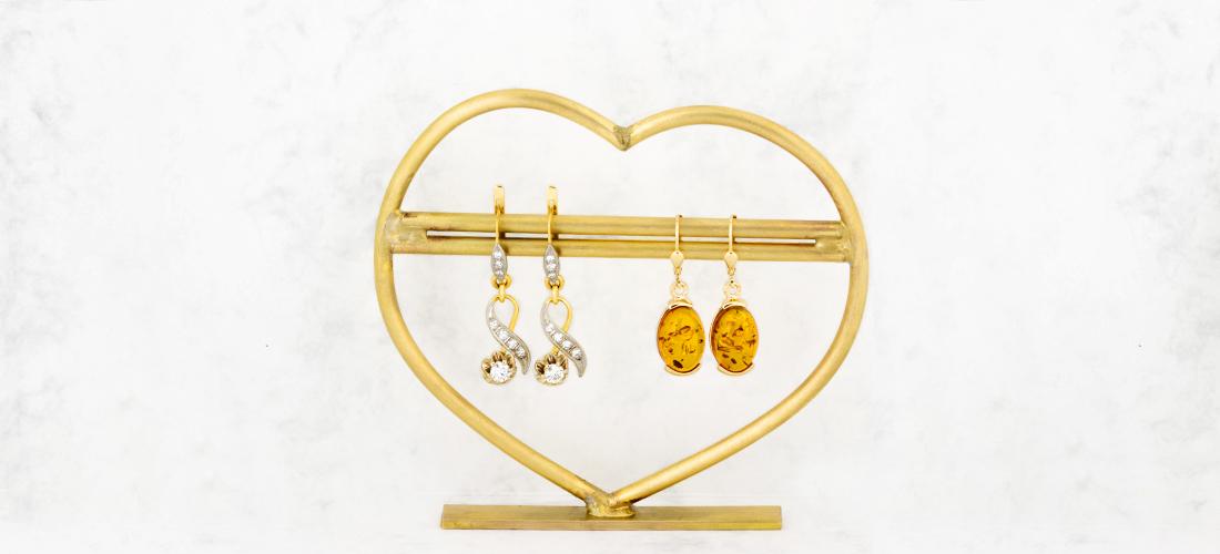 Hochwertige Ohrhänger aus Gelbgold mit Diamant und Bernstein
